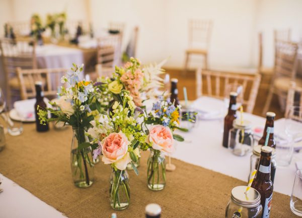Yellows, Whites & Blue Blooms for a Rustic meets Retro Wedding at The House Meadow in Kent