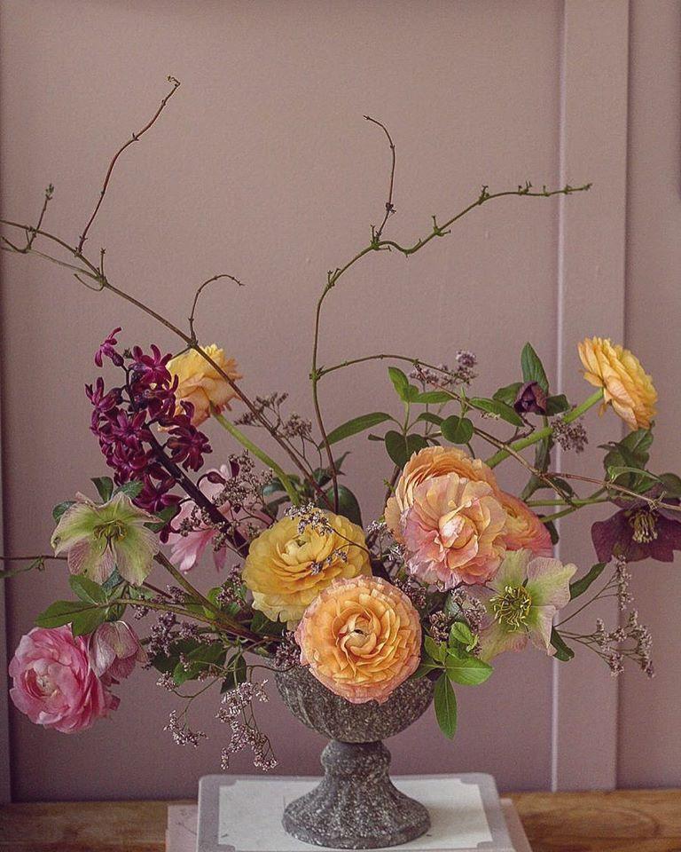 Spring Arrangement with Ranunculus and Hellebores