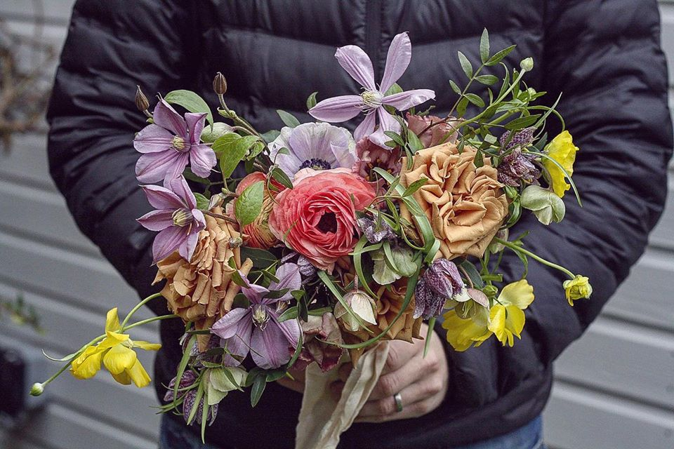 Bouquet with butterfly Ranunculus, Fritillaria's and Anemones