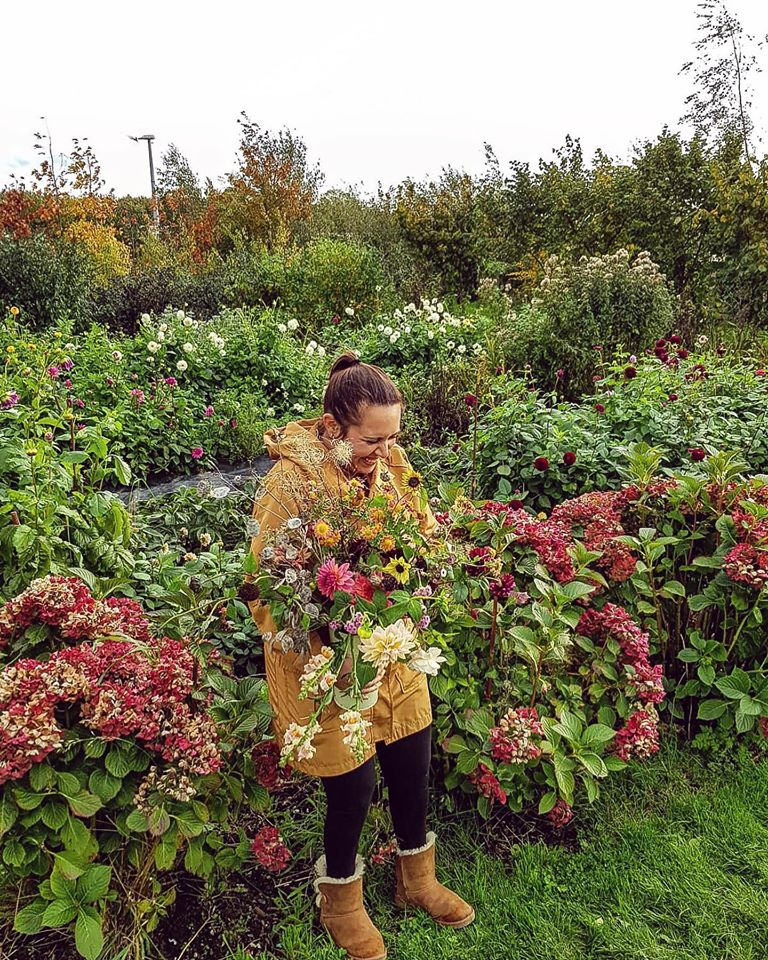 Joanne picking Autumn Flowers at Blooming Green