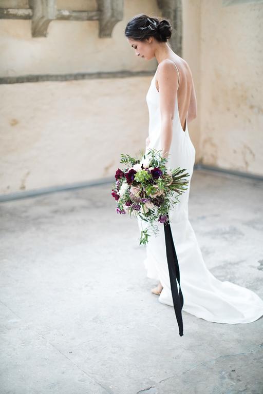 Bridal Bouqut with black velvet hanging ribbon