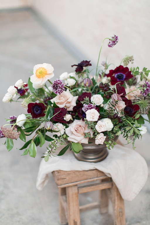 Table Centre with Burgundy Anemones and icelandic Poppies