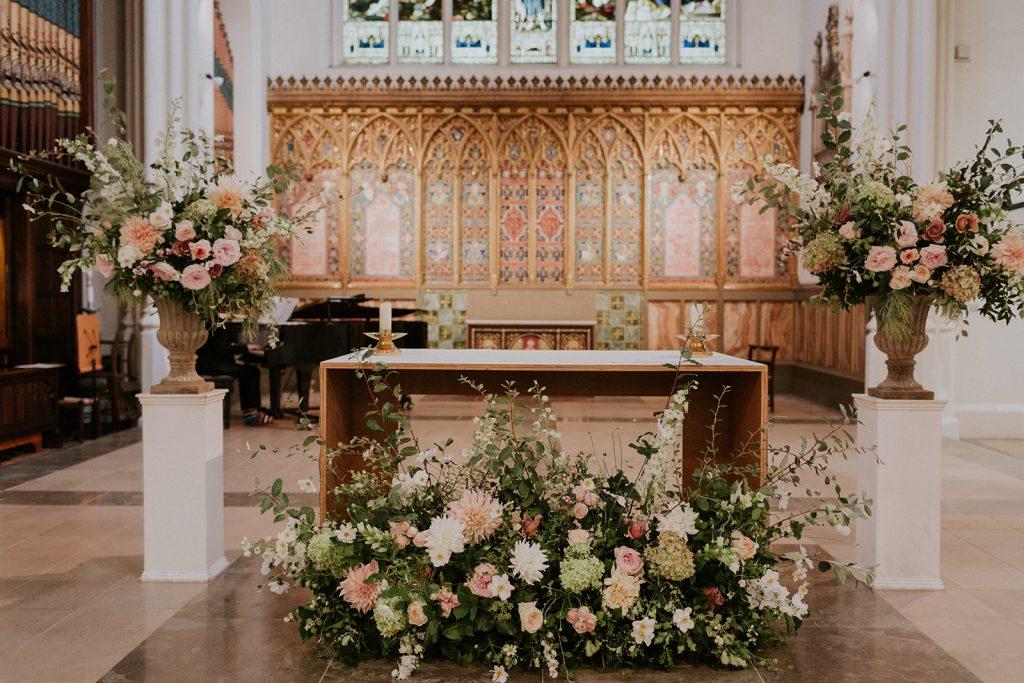 Natural romantic church arrangements
