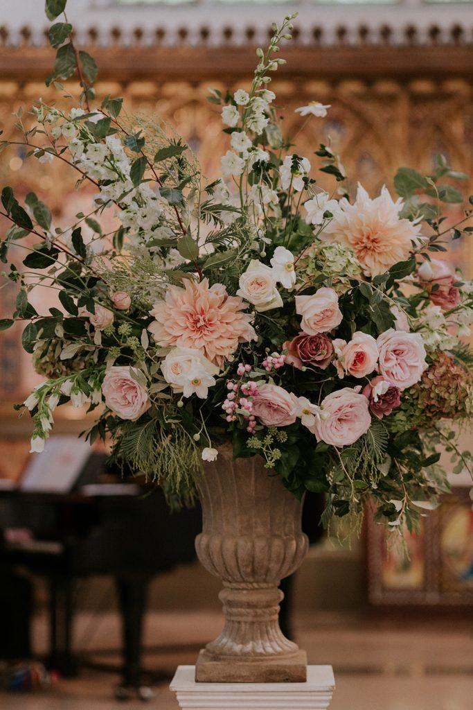 Blush garden rose urn