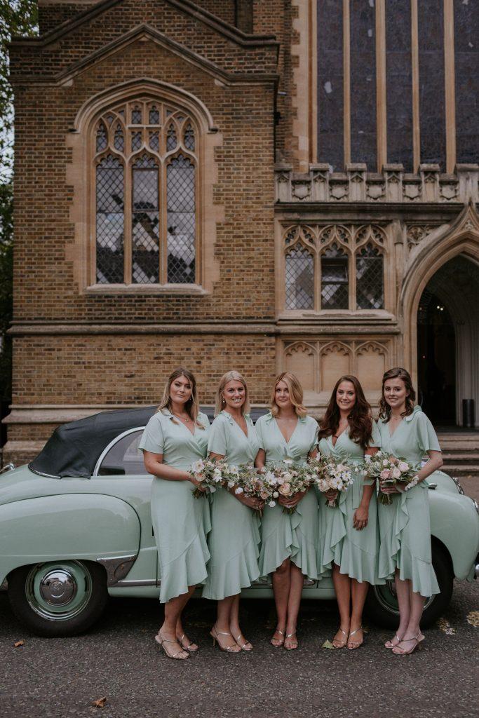 Blush bridesmaids bouquets