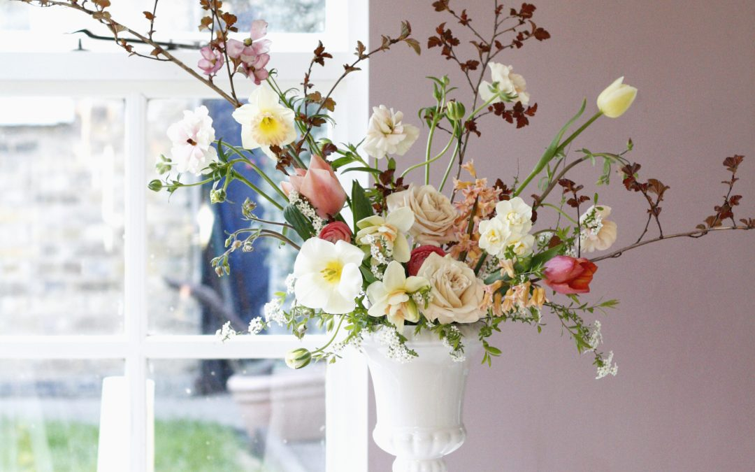 floristry taster day workshop with blossom and tulips