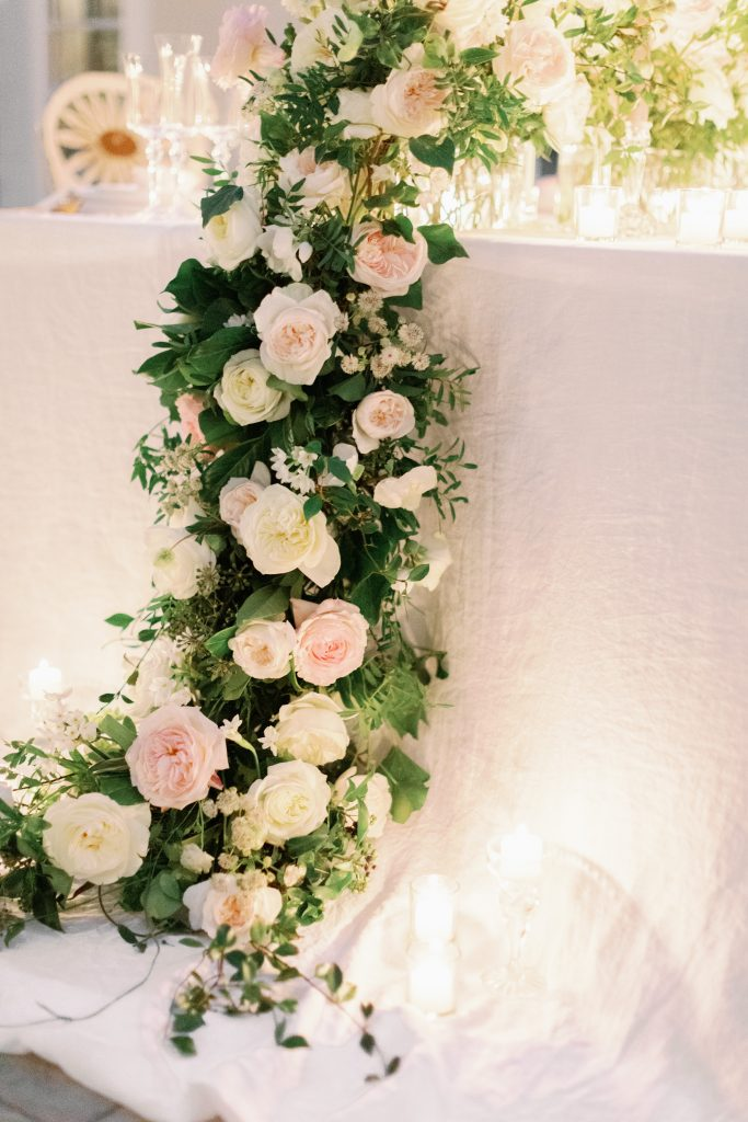 Luxury tablescape featuring garden roses from David Austin